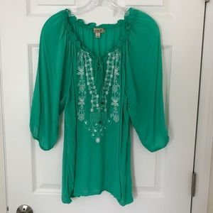 Emerald Tunic With Embroidery, 1X, Green, EUC.